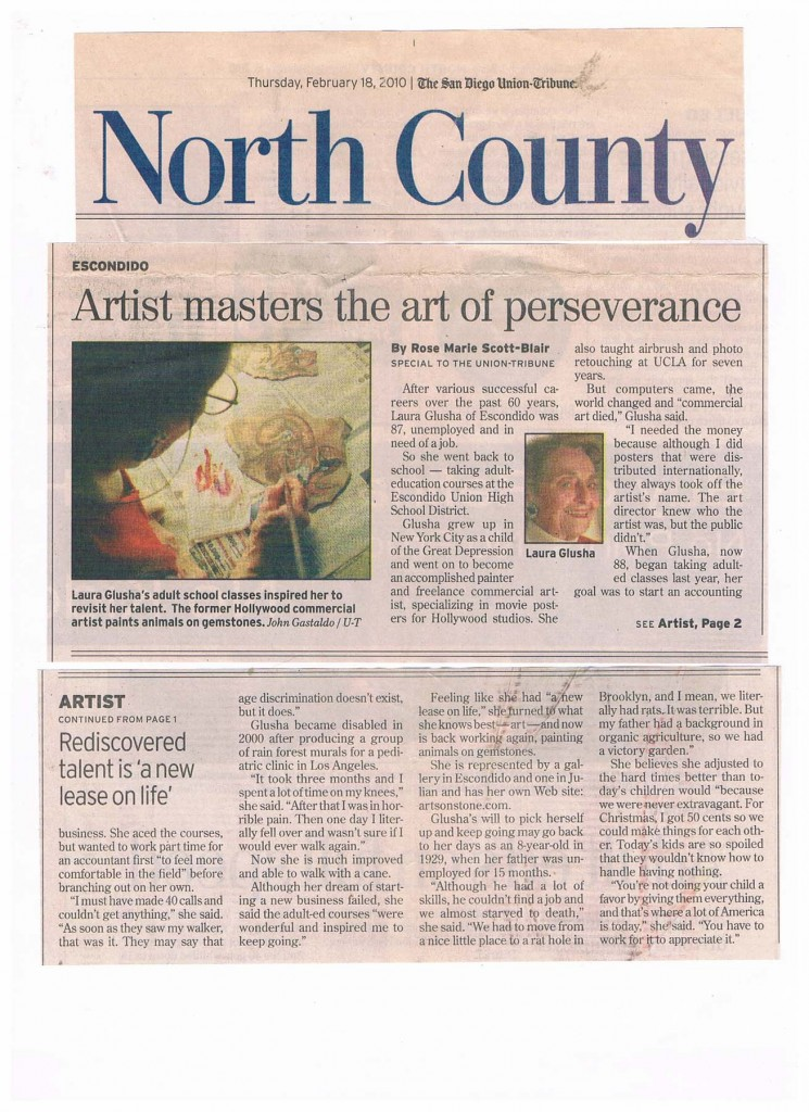 "Newspaper Article: ""Artist masters the art of perseverance"", The San Diego Union-Tribune, 18 February 2010"