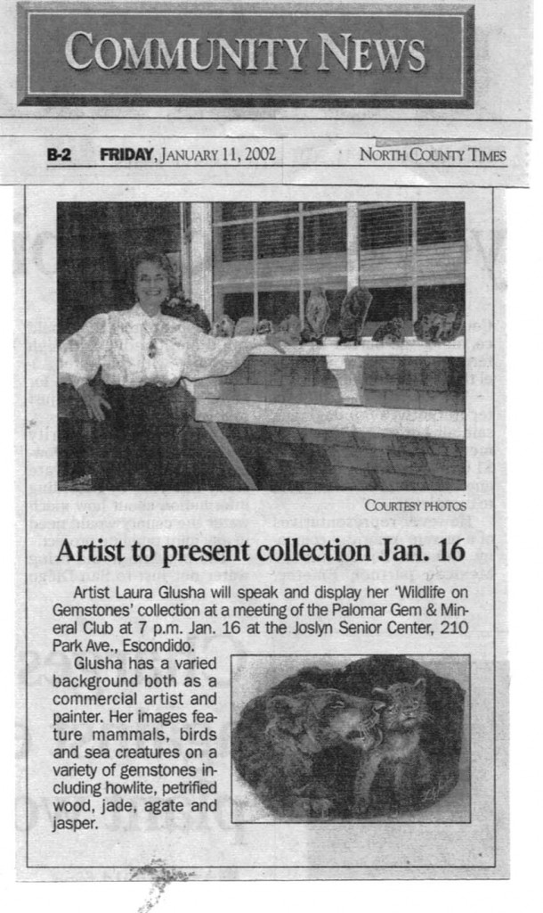 "Newspaper Article: ""Artist to present collection Jan. 16"", North County Times, 11 January 2002"