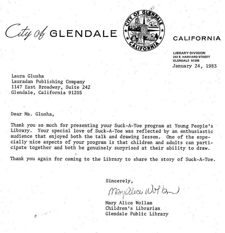 Letter of Appreciation: City of Glendale Public Library, 24 January 1983