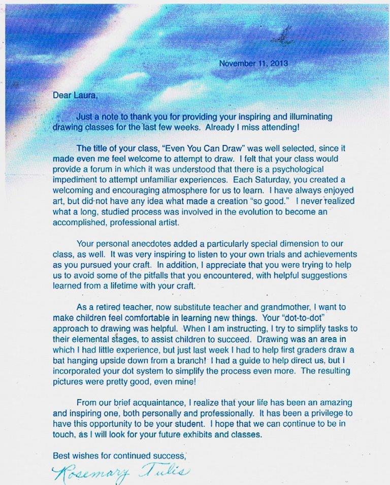Testimonial Letter: Rosemary Tulis, 11 November 2013