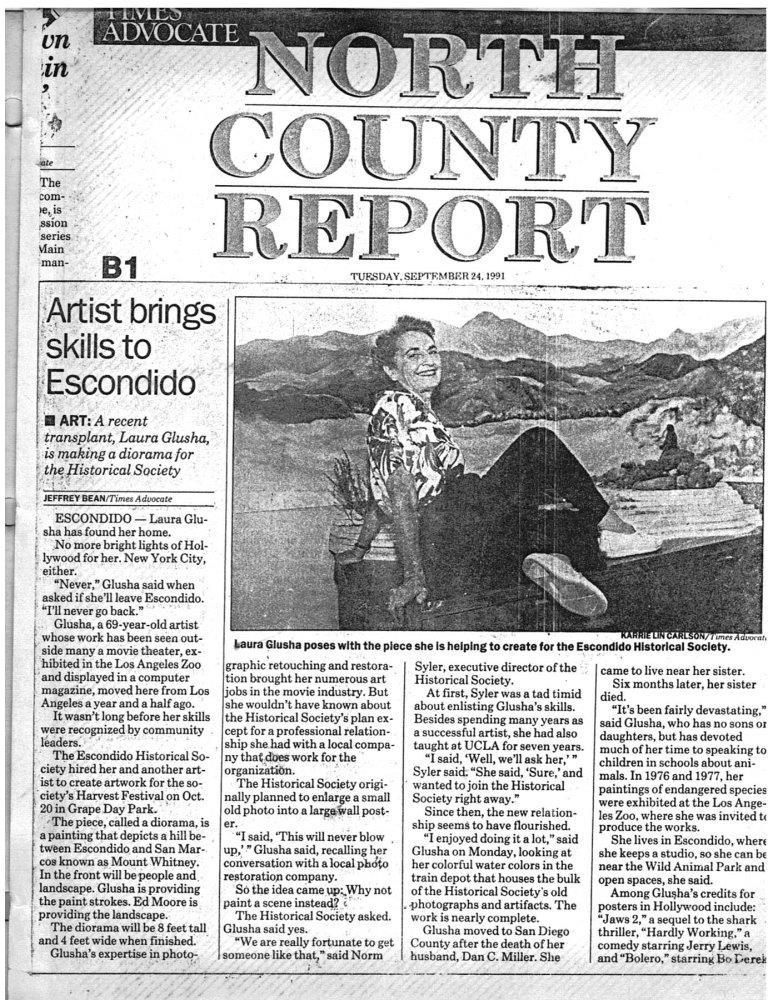 """Newspaper Article: """"Artist brings skills to Escondido"""", Times Advocate, 24 September 1991"""