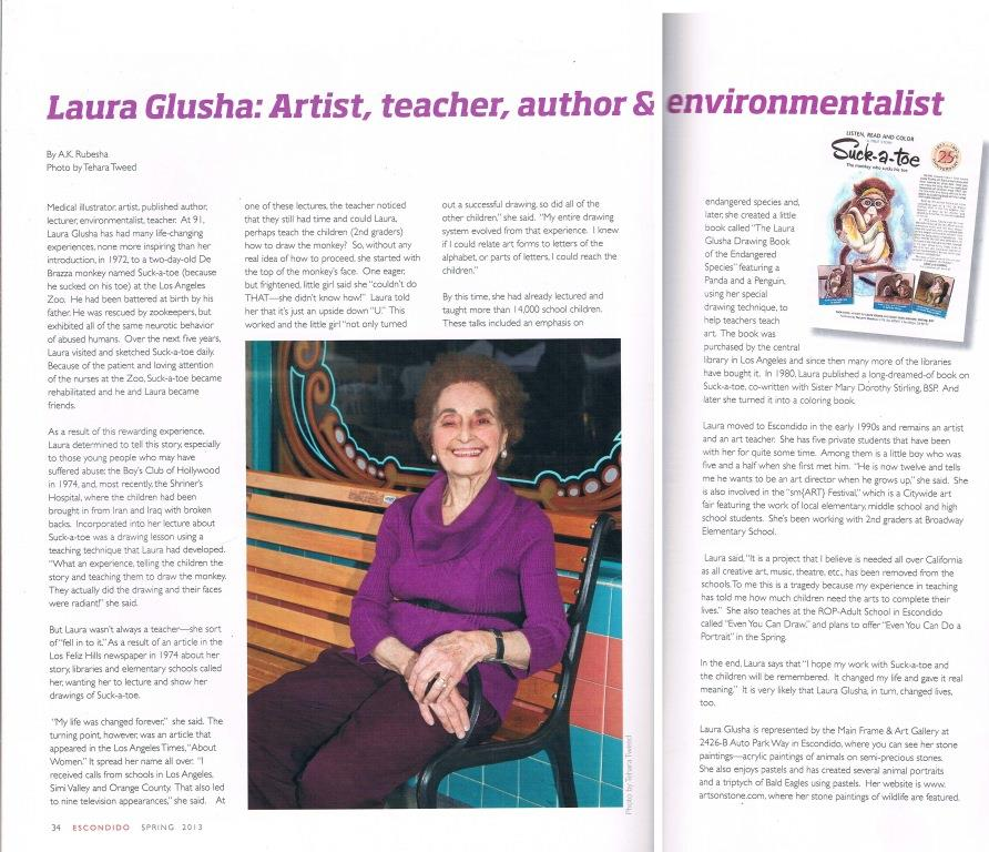 "Newspaper Article: ""Laura Glusha: Artist, teacher, author & environmentalist"", City of Escondido Magazine, Spring 2013"