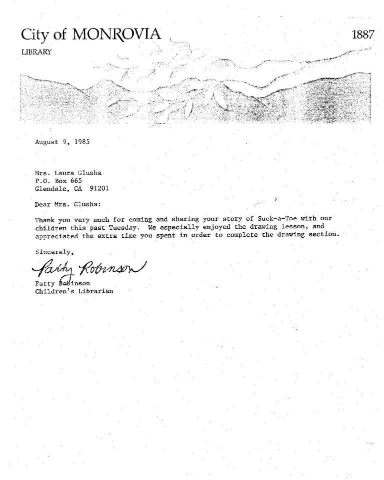 Letter of Appreciation: City of Monrovia Library, 9 August 1985