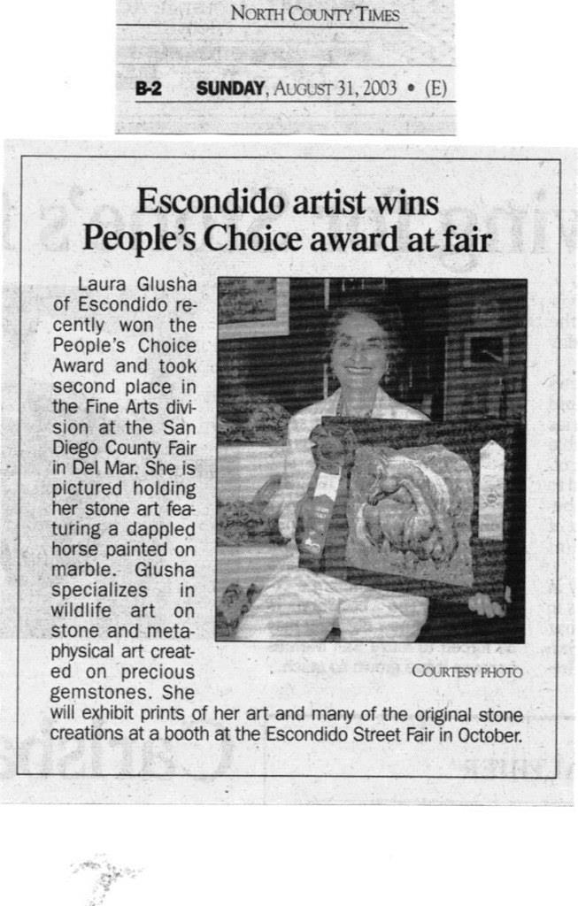 "Newspaper Article: ""Escondido artist wins People's Choice award at fair"", North County Times, 31 August 2003"