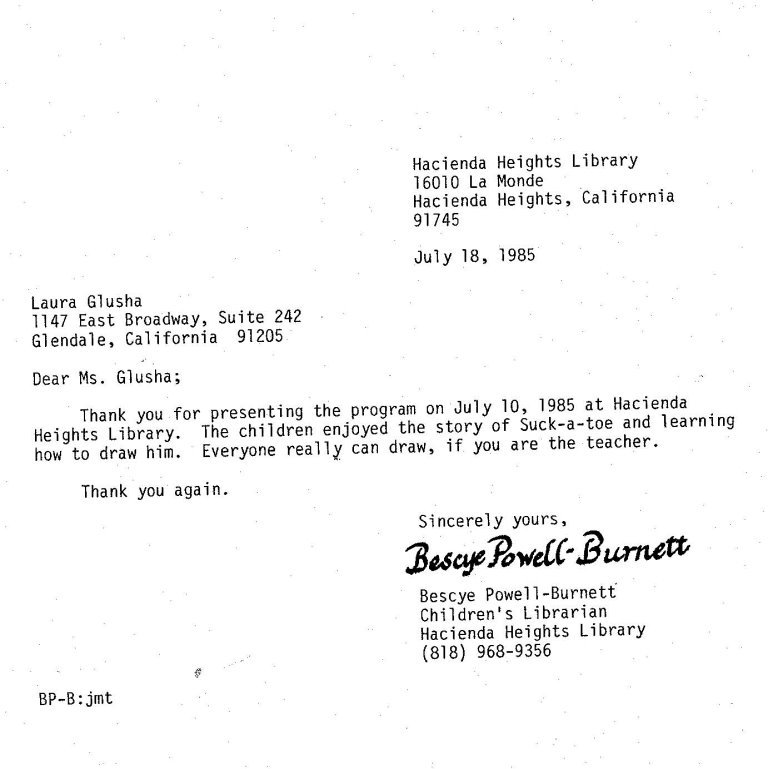 Letter of Appreciation: Hacienda Heights Library, 18 July 1985