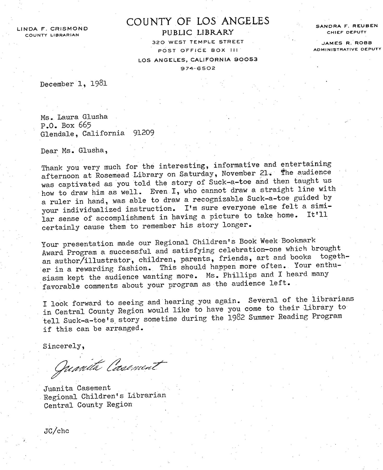 Letter of Appreciation: County of Los Angeles Public Library, 1 December 1981