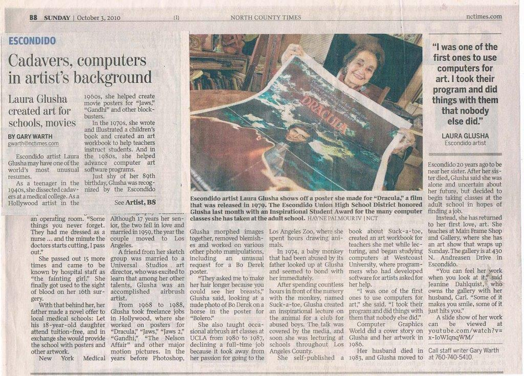 "Newspaper Article: ""Cadavers, computers in artists's background"", North County Times, 3 October 2010"