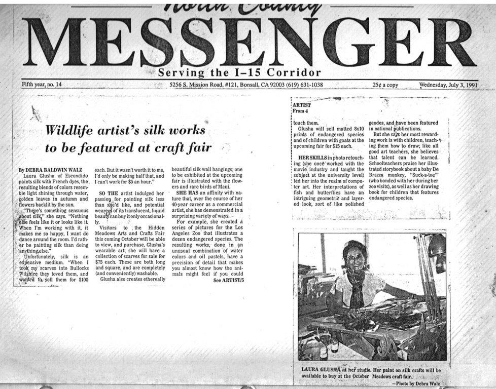 """Newspaper Article: """"Wildlife artist's silk works to be featured at craft fair"""", North County Messenger, 3 July 1991"""